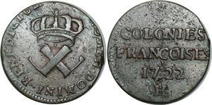 O1023 Rare !! Amérique Louis XV 9 deniers colonies américaines 1722 H Rochelle