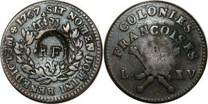 O1025 Amérique 3 sols 9 deniers Colonies Francoises Louis XV 1767 contremarque