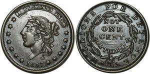 O1038 Scarce USA Not 1Cent Americana Hard Times defence Token 1837 Liberty AU