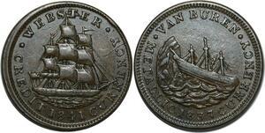O1042 USA One Daniel Webster Ship CRedit Currency 1841 Van Buren 1837