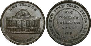 O1047 Scarce USA One Cent New York Merchants Exchange 1837 UNC