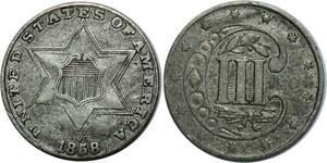 O1051 USA 3 Three cents Star 1858 Silver