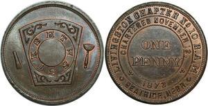 O1067 Scarce USA Masonic Franc Maçons Token One Penny 1873 Nebraska UNC  Red