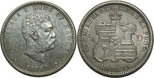 O1070 Scarce Hawai 25 Cents 1/4 Dollar Cents Charles Barber 1883 UNC !!! Silver