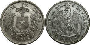 O1085 Scarce Chile Chili Republic Peso 1875 SO Santiago mint UNC !!