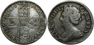 O1100 UK GB Anne Six Pence 1711 Almost XF !! Nice toning