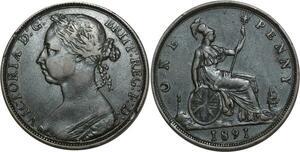 O1116 Great Britain Penny Victoria 1891 XF !!