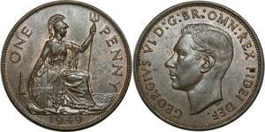 O1117 Great Britain Penny Georgius VI 1949 UNC Red