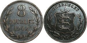 O1121 Guernsey 8 Doubles 1902 H Heaton