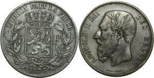 O1125 Belgique 5 Francs Leopold II 1873 Argent