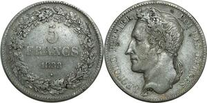 O1128 Belgique 5 Francs Léopold Ier 1833 Argent TB+