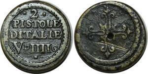 O1149 Rare Italy Poids Monetaire 2 Pistoles