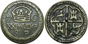 O1160 Spain Poids Monetaire de 8 réaux de Philippe II Philippe IV