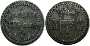 O1172 Rare Henri III Henri IV Poids Monetaire 1/2 demi-Teston  Anvers