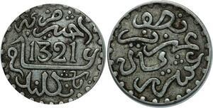 O1292 Morocco 1/2 dirham Abdelaziz 1321 AH 1903 Londres Silver - M offer