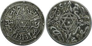 O1295 Morocco 1/2 Dirham Abdul Aziz I an 1313 1895 Paris Silver