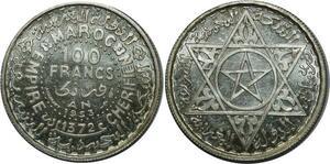 O1302 Morocco Mohammed V 1927-1961 100 francs 1953 essai FDC Argent