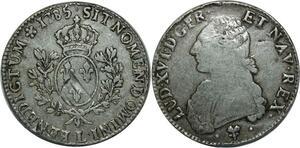 O1304 Ecu Louis XVI branches d'oliviers 1785 L Bayonne Argent