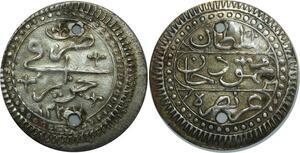 O1323 Algeria ¼ boudjou Mahmoud II 1237 1822 ١٢٣٧ Silver AU