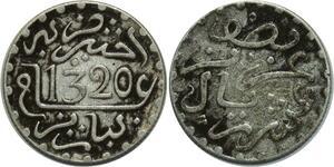 O1343 Morocco Abd al-Aziz 1/2 dirham 1320 AH 1902 Paris silver