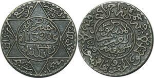 O1366 Morocco Abd al-Aziz 2 1/2 dirhams 1320 AH 1902 Londres Silver