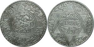 O1373 Rare Morocco 10 dirhams Abdelaziz 1320 AH 1903 Londres Silver AU !!