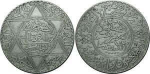 O1375 Rare Morocco 10 dirhams Abdelaziz 1321 AH 1903 Paris