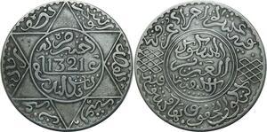 O1378 Morocco Abd al-Aziz 5 dirhams 1321 AH 1903 Londres Silver