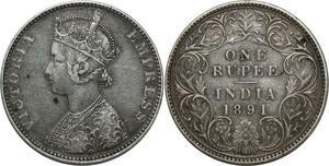 O1399 India 1 Rupee Victoria 1891 Silver