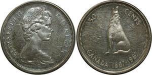 O1402 Canada 50 Cents 1967 Dog Silver AU Cameo
