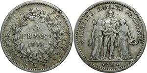 O1473 5 Francs Hercule 1875 A Paris Argent Silver