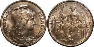 O1481 Rare !! 10 Centimes dupuis 1913 MS64 FDC