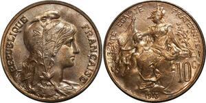 O1482 Rare !! 10 Centimes dupuis 1913 MS64 FDC