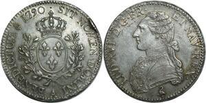 O1515 Rare Ecu Louis XVI 1790 A Paris 1er sem Argent Silver Superbe PATINE !!!