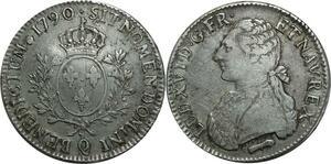 O1520 Rare Ecu Louis XVI 1790 Q Perpignan Argent Silver