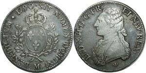 O1523 Rare Ecu Louis XVI 1790 M Toulouse Argent Silver