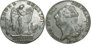 O1548  Rare Ecu Constitution Louis XVI 1793 L Bayonne an 5/4 Argent Silver SUP