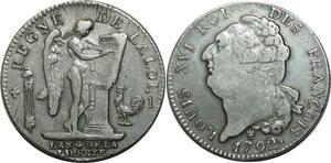 O1571 Rare Ecu Constitution Louis XVI 1792 I Limoges Argent > M offer