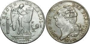 O1574 Rare Ecu Constitution Louis XVI 1792 I Limoges 2nd Sem Argent PCGS AU