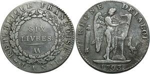 O1585 Rare Ecu 6 Livres Convention Louis XVI 1793 AA Metz Argent Silver