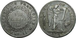 O1588 Rare Ecu 6 Livres Convention Louis XVI 1793 D Lyon Argent Silver