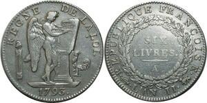 O1591 Rare Ecu 6 Livres Convention Louis XVI 1793 A Paris 2me sem Silver