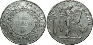 O1598 Très Rare Ecu 6 Livres Convention Louis XVI 1793 AA Metz Argent TTB+