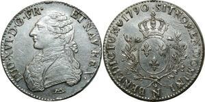 O1601 Rare Ecu Louis XVI 1790 N Montpellier Argent Silver TTB/SUP