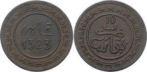 O1669 Scarce Morocco 10 Mazouna 1323 Fes Large Letter XF +++ KM $275
