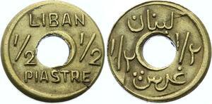 O1687 Liban émission locale 1/2 Piastre laiton s.d. 1942-1945 SUP !!