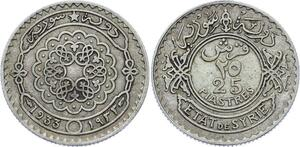 O1716 Syrie Syria 25 Piastres 1933 Argent Silver