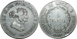 O1806 Italy Lucques Piombino Elisa et Félix 1805-1814 5 franchi 1805 Silver