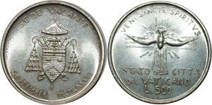 O1808 Vatican Sede Vacante 500 Lire 1963 UNC Silver