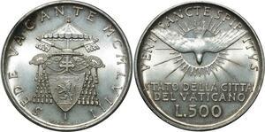 O1811 Italy Vatican Siège vacant 500 lire 1958 argent BU FDC